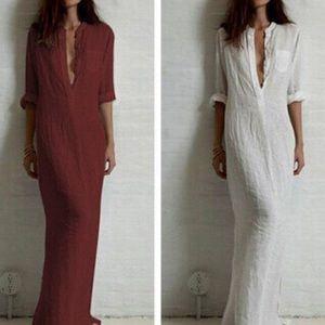 Dresses & Skirts - White Boyfriend maxi dress