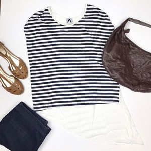 Navy Striped Tee Angled Back Hem