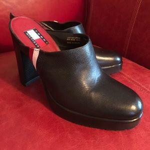 TOMMY HILFIGER Black High Heel Mules - Size 7-1/2