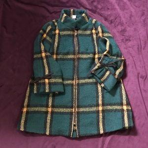 Green Plaid Wool Like Coat - FreeSize