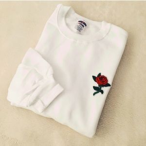Other - Red rose sweatshirt in white embroidered patch