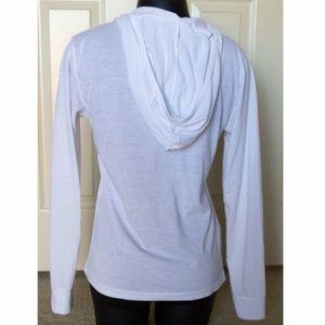 Boutique Shirts - White Longsleeve Shirt With Hood Round Neck XS
