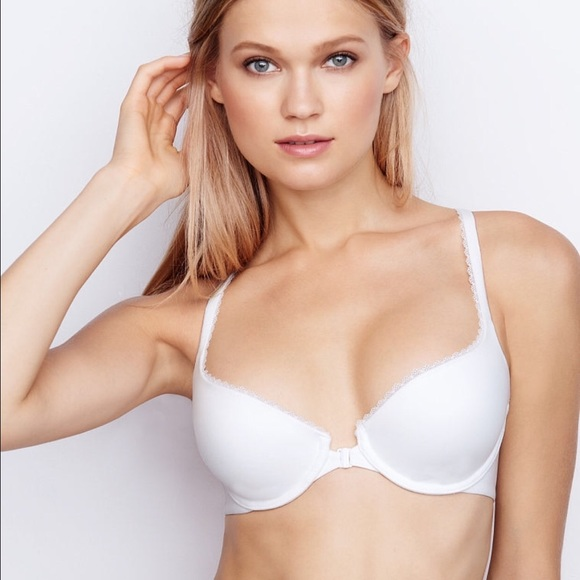 f3f4ce22f2d18 36D Body By Victoria Front Close Demi Bra - White