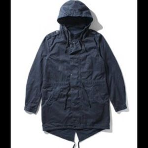 Save Khaki United Unisex Navy Blue Fish Tail Parka