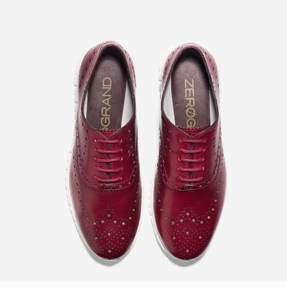 367874a0a6066 Cole Haan Shoes - Cole Haan ZeroGrand Oxford Wing Burgundy Shoes