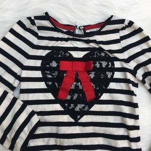 Cherokee Other - Cherokee Striped Heart Lace Long Sleeve Top