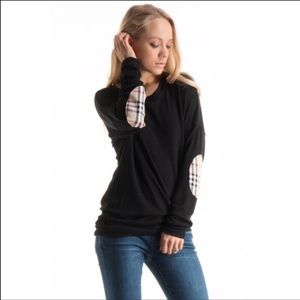Fashionomics Sweaters - Plaid elbow patch tunic