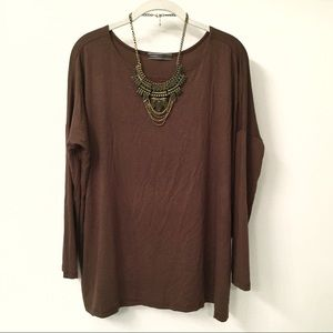 NWOT Boutique relaxed fit chestnut brown tunic top