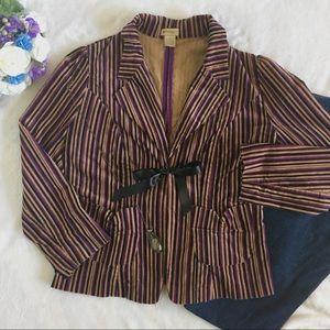 Anthropologie Jackets & Blazers - Elevenses striped tie front corduroy blazer