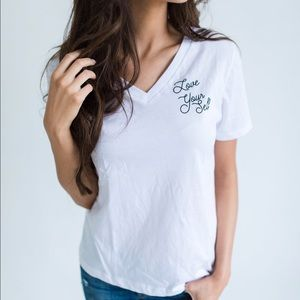 Friday Apparel Tops - Love Yourself Shirt in White