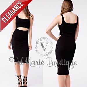 CLEARANCE SEXY BLACK BODYCON DRESS
