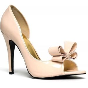 cape robbin Shoes - D'Orsay Bow Nude Faux Patent Stiletto Heel Shoe