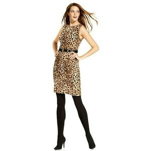 New! Calvin Klein Leopard Belted Sheath Dress NWT