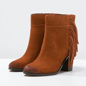 Rust Western Cowboy Ankle Fringe Boots