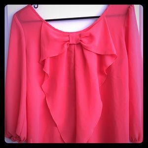 Amy Byer Tops - Coral bow back blouse