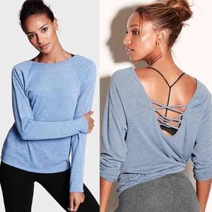 XS Faded Denim Blue VSX Strappy Back Long Sleeve