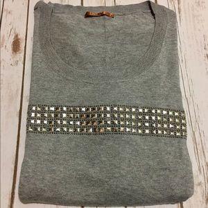 Belldini Sweaters - Belldini-Grey & Silver Studded Light Sweater Top