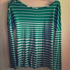 Green and Gray stripe shirt