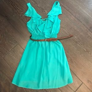 Sequin Hearts Dresses & Skirts - Blue ruffled dress with brown belt!