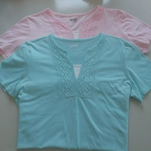 Tops - Two Basic Edition Vneck L/XL embellished shirts.