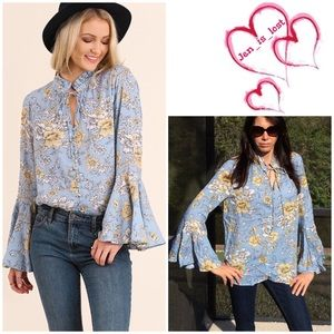 Umgee Tops - Floral Print Top with Bell Sleeves