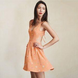 new | Reformation Murcia Sorbet Mini Cutout Dress