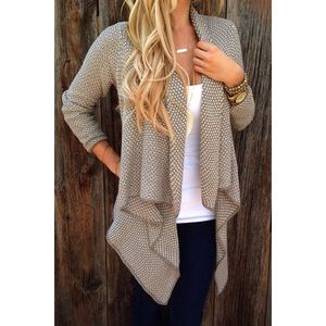 HP Waterfall cardigan sweater brown and white knit
