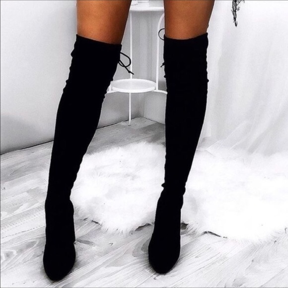 bfb4a0933a5 Black Sock Heeled Over The Knee Boots