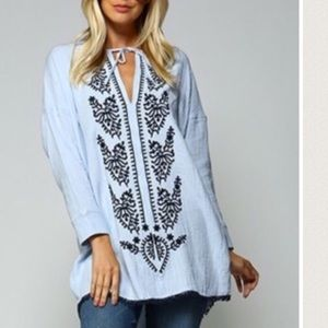 Tops - Light Blue Embroidered Top