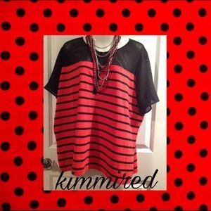  Red/Black LauReN RaLPH LauReN Mesh Top ~ 3X~NWT