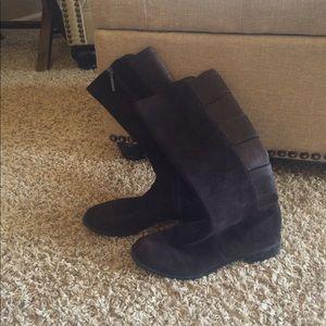 Calvin Klein suede chocolate boots