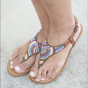 naughty monkey Shoes - Aztec Multicolor Hand Beaded Sandals