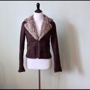 Distressed Fur Collar Jacket
