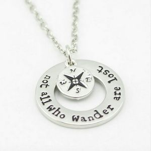 Jewelry - Silver 'Not All Who Wander' Compass Necklace