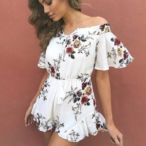 B-Long Boutique  Dresses & Skirts - SALE ENDS TODAY❤ White floral off shoulder romper