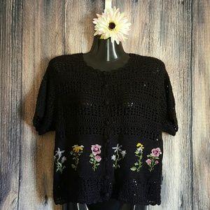 teddi Tops - VTG black crochet floral cardigan blouse sweater