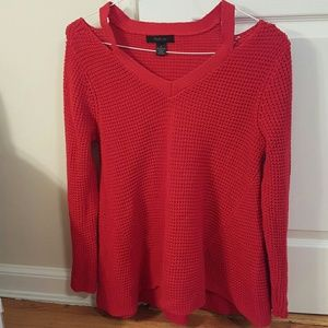 Style & Co Sweaters - Style & Co bright red cutout shoulder sweater