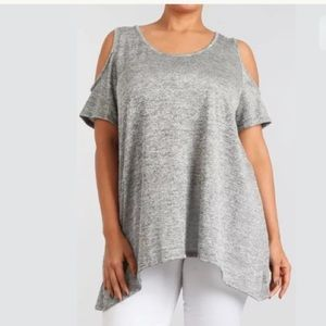 Plus Gray Top Cold Open Shoulder Knit Tunic NEW