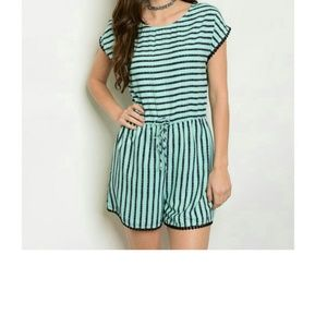 Mint Navy Striped Romper
