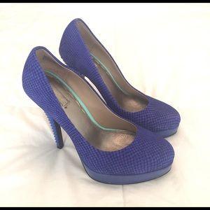 Rachel Roy Blue Pattern Suede Heels