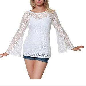 Long Bell Bottom Sleeves Floral Lace Top