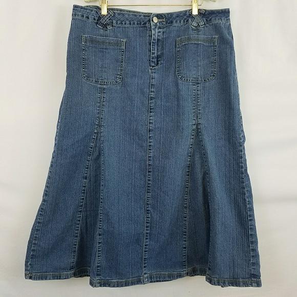 82711d90bd51d Cato Dresses   Skirts - Cato Women s Plus Long Pleated Denim Skirt