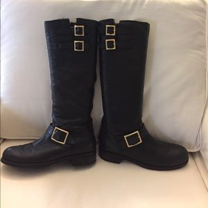 Jimmy Choo Shoes - Jimmy Choo Tall Yule Fur Lined Black Biker Boots