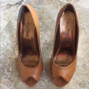 Anne Michelle Shoes - LAST CHANCE! Anne Michelle Brown Peep Toe Heels