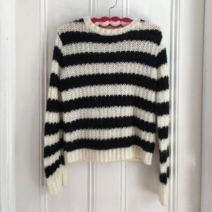 who what wear Sweaters - Who What Wear Black & White Striped Sweater Sz XS