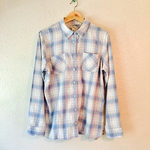 L. L. Bean pastel plaid flannel button up shirt L