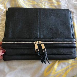 Black faux leather Asos clutch