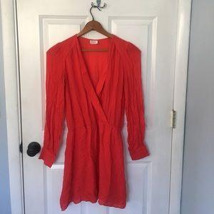 Parker Dresses & Skirts - Parker Red Silk Long Sleeve V Neck Dress