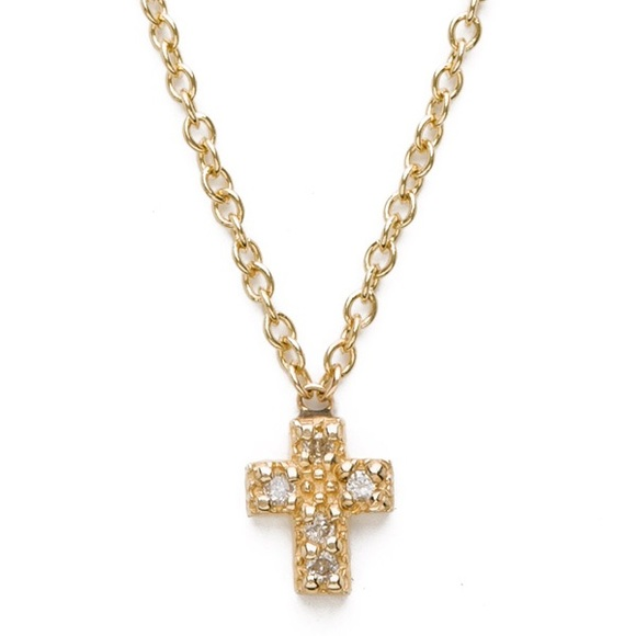 138a8d74b7578 Lena Wald diamond and gold cross necklace
