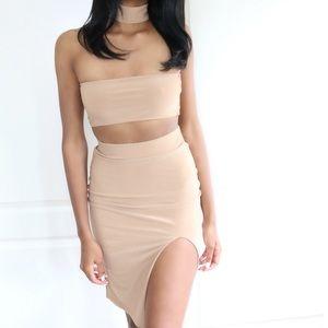 Jaded Affairs Dresses & Skirts - 🆕 Camel Choker Neck Two Piece Set